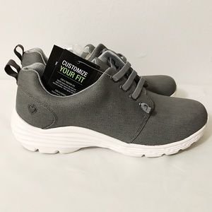 Leather Non Slip Velocity Grey Sneaker NoTie Laces